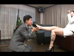 oriental foot femdom smoking with cigarette holder