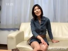 brunette hair japanese hoe has joy chatting