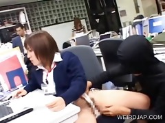 oriental gal receives twat teased at work