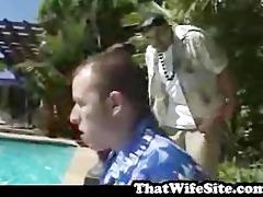 large bra buddies drilled by pool side