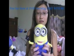 oriental college chick have a fun her toys