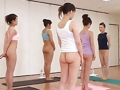 japanese babes practicing bare fitness class