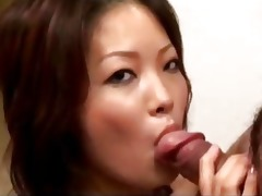 oriental cutie with petite tits giving blowjobs