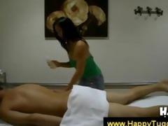 oriental masseuse checks out a chaps rod