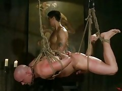 bald gay stud tortured by oriental hunk