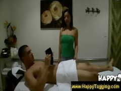 oriental masseuse gives tugjob and blowjob