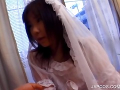 oriental in bride costume shows wazoo upskirt