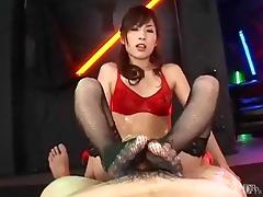 oriental cutie footjob in fishnets with cumplay