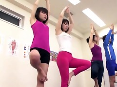 subtitled japanese yoga stretching class insane